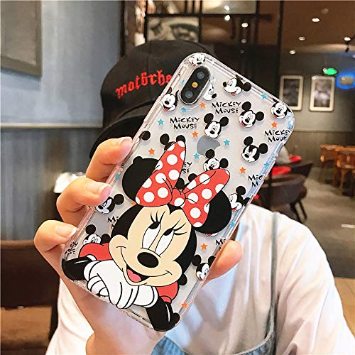 Twinlight Cute Cartoon Mickey Minnie Mouse Soft Clear Case Cover for iPhone Xs Max XR X Case for iPhone 8 7 Plus Pooh Silicone Case (A, for iPhone Xs Max) (Iphone 4s Mickey Mouse Case)