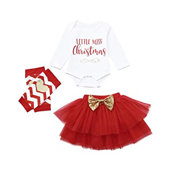 3f73ddf12ccb8 Amazon.com  Yalasga Baby Girl Christmas Outfits Set Newborn Infant Letter  Romper Tops+Red Layer Tutu Skirts +Leg Warmer (White
