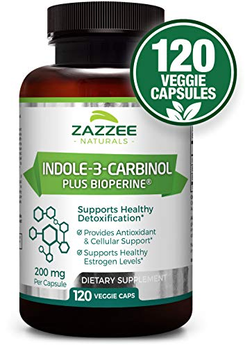 Indole-3-Carbinol (I3C) | 4 Month Supply | 200 mg per Capsule | 120 Veggie Capsules | Plus 5mg BioPerine for Enhanced Absorption | Vegan, All-Natural and Non-GMO | Supports Healthy Estrogen Metabolism - Estrogen Healthy