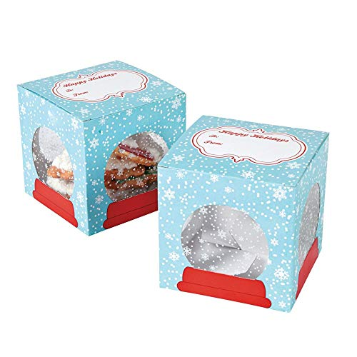 Snowflake Snow Globe Christmas Cookie Boxes, 12 Count -