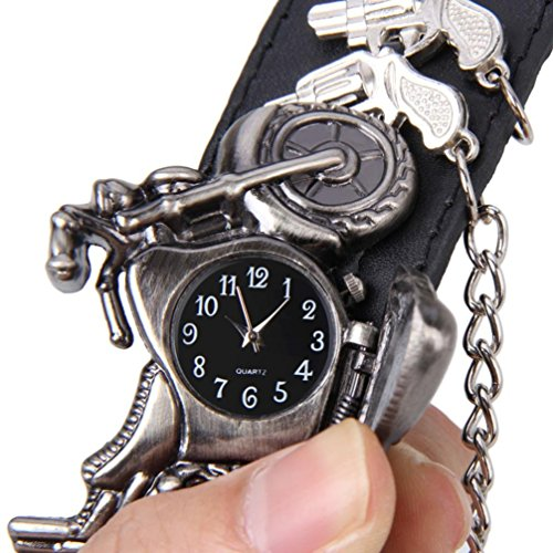 GOTD Women Men Punk Rock Chain Skull Band Bracelet Cuff Gothic Wrist Watch (Black)