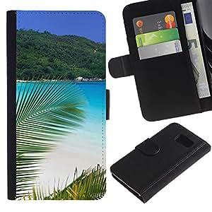 Protector de cuero de la PU de la cubierta del estilo de la carpeta del tirón BY RAYDREAMMM - Samsung Galaxy S6 - Paradise Palm Beach