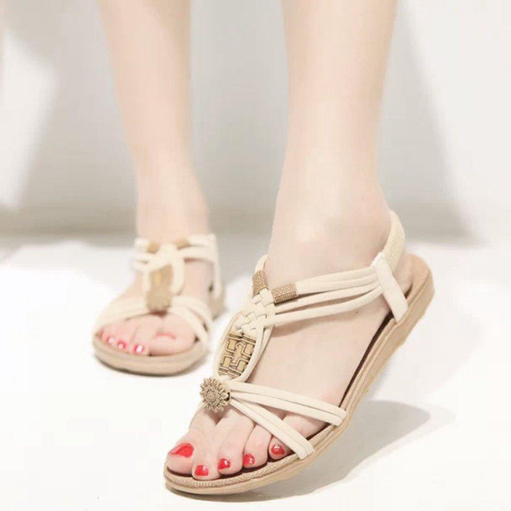 Lurryly Women Summer Fashion Bohemia Sweet Beaded Sandals Clip Toe Sandals Beach Shoes 2019Clearance