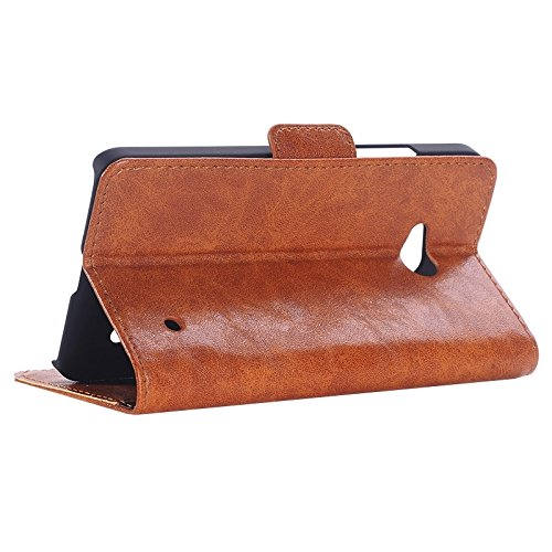 Funda Iphone, Caja de cuero de la PU del aceite retro con las ranuras para tarjeta y la carpeta y el sostenedor para Microsoft Lumia 640 ( Color : White ) Brown