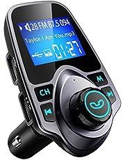 """VicTsing Transmetteur FM Bluetooth Ecran de 1.44"""" Kit Voiture Mains Libres sans Fil Adaptateur Radio Chargeur Voiture avec Double Port USB Audio Port 3,5mm Allume Cigare Support Carte TF, Clé USB"""