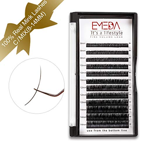 Mink Eyelash Extensions 100% Real Mink Lash Extensions 3D Silk Black Natural Individual Lashes C Curl 8-14mm Mixed Tray 8mm 10mm 12mm 14mm3 Rows by EMEDA