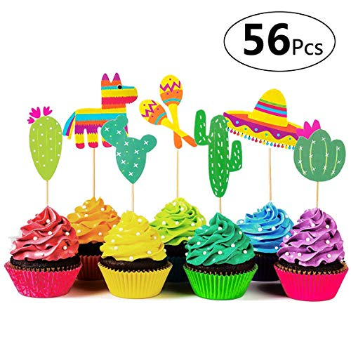 Mustache Themed Birthday (Sandeye 56 Pieces Mexican Fiesta Cupcake Toppers, Cake Picks for Mexican Themed Cactus Donkey Taco Pepper Sombrero Mustache Party Decorations,Baby Shower or Birthday Party)