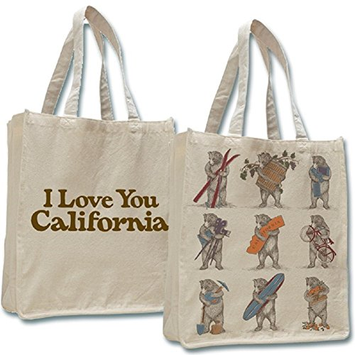 NINE BEARS TOTE Shopper Bag Canvas I Love You California Large Jumbo Beige -