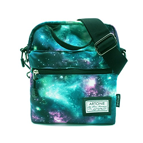 Price comparison product image Artone Green Universe Galaxy Casual Crossbody Bag Campus Shoulder Bag Fit iPad