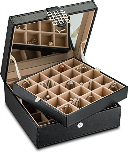 (Glenor Co Classic 50 Slot Jewelry Box Earrings Organizer with Large Mirror, Black)