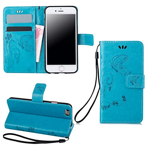 Price comparison product image Summer Clearance Sale 2016 For iPhone 6 Case, iPhone 6S Case, easygogo® Premium Vintage Emboss Butterfly Leather Wallet Pouch Case with Wrist Strap for iPhone 6/6s (iPhone 6/6s, Teal Blue)