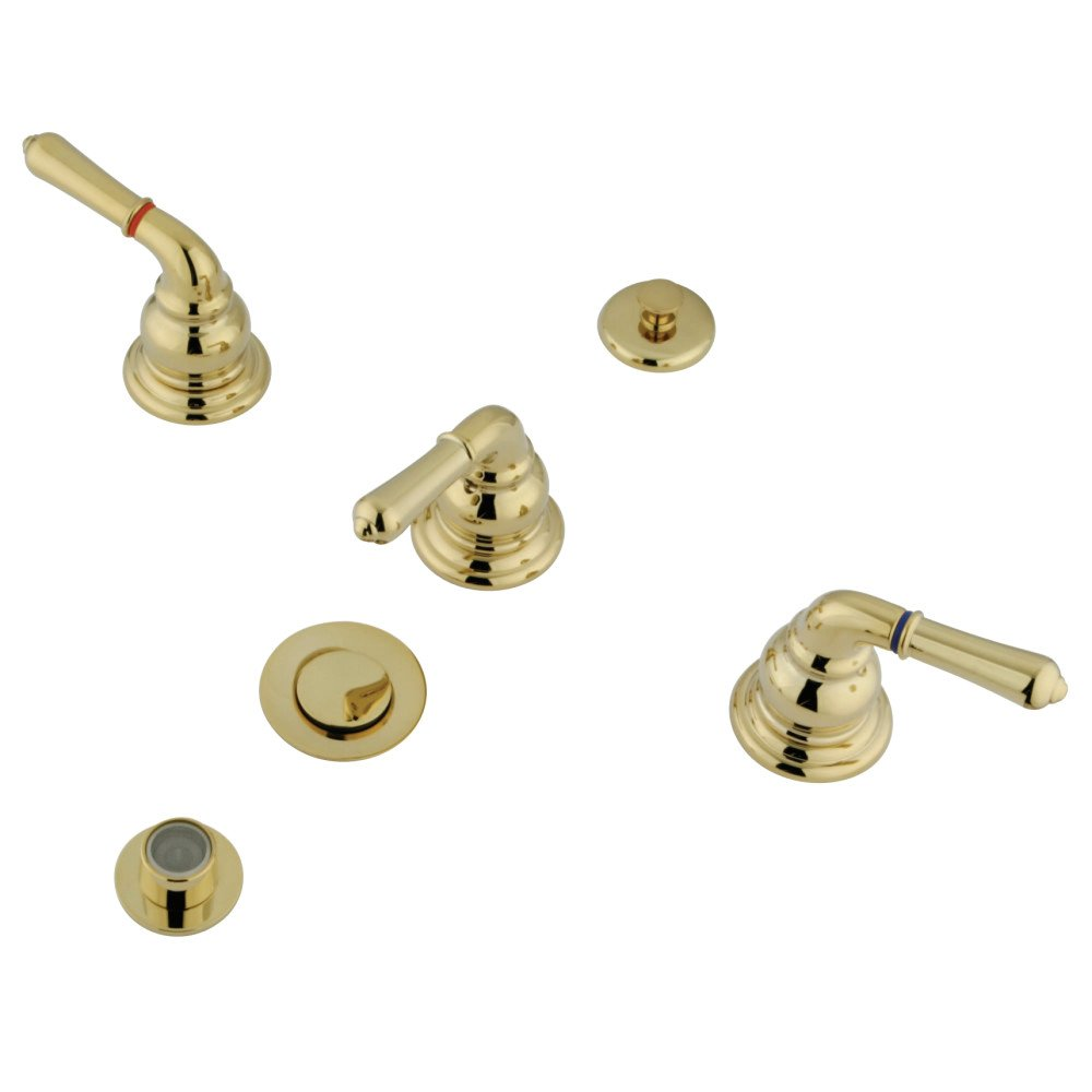 Elements of Design EB328 Bidet Faucet With 3 Lever Handle and Brass Pop-Up Satin Nickel