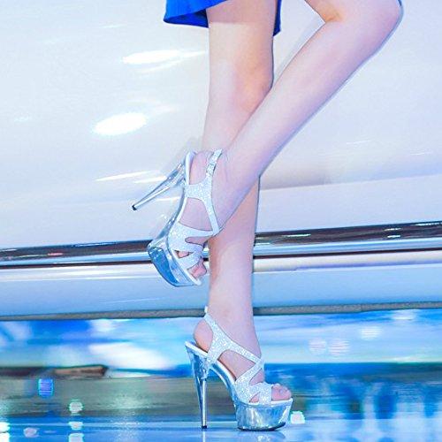 YMFIE Bola de Partido en el Temperamento de la Personalidad Sexy Zapatos de tacón Zapatos de Cristal Damas de Verano y los Dedos de los pies los Tacones Altos y Sandalias. e