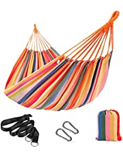 SONGMICS Hammock, 210 x 150 cm, Double Hammock with Fastening Straps and Carabiners, 300 kg Load Capacity, for Terrace, Balcony, Garden, Outdoor, Camping, with Carry Bag, Rainbow GDC15C