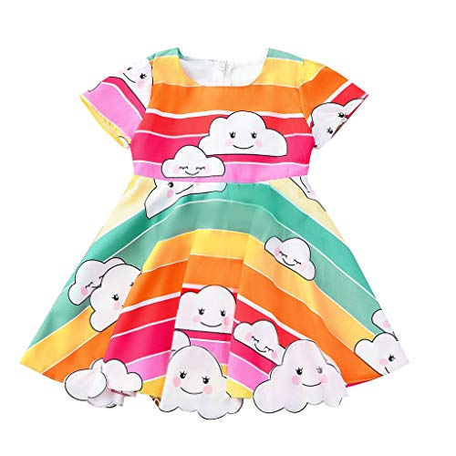 Toddler Baby Girl Rainbow Dresses ❣ Infant Little Girls Cute Crew Neck Shorts Sleeve Clothes ❣A-Line Back Bow Dress with Zipper (12-18 Months, Multicolor)