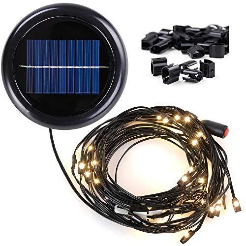 AMPERSAND 10-Ft. 8-Rib Offset Patio Umbrella Solar String Lights (Warm White) (10 With Umbrella Ft Patio Lights)