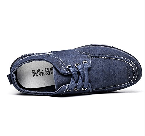 Joggesko Komfortable Blå Menns Sko På Størrelse Loafers Uformelle 10 Pluss Utendørs Lerret Walking Oxfords Pustende Snøre awpqHUf