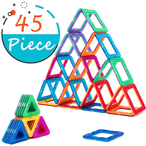 COSSY Magnet Tiles Building Block 45 PCs, Magnetic Stick and Stack Set for girls and boys, Perfect STEM Educational Toys for Kids Children, Multicoloured by COSSY