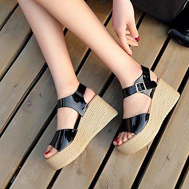 LvYuan zapatos del club de los talones de verano de cuero sintético fiesta al aire libre&vestido de noche de cuña del talón de la hebilla Light Blue