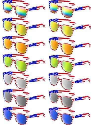 (Classic American Flag Sunglasses Patriot Mirror Sunglasses USA Retro 80's Glasses (7 Colors, 14 Pieces))