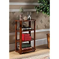 Kings Brand Furniture Walnut Finish Wood 3 Tier Bookshelf Accent Side End Table