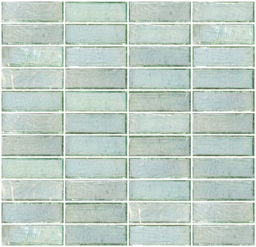 Susan Jablon Mosaics - 1x3 Inch Green Iridescent Glass Subway Tile Reset In Stacked Layout