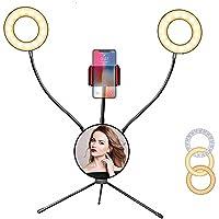 Selfie lampa pierścieniowa LED do makijażu, 6 kolorów 2700-6500 K, możliwość ściemniania, 10 poziomów jasności, światło…