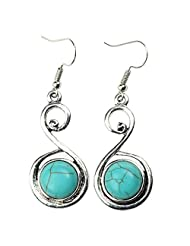 Gobuy Women's S Shape Silver Simple Elegant Round Turquoise Inlaid Hook Banquet Earrings