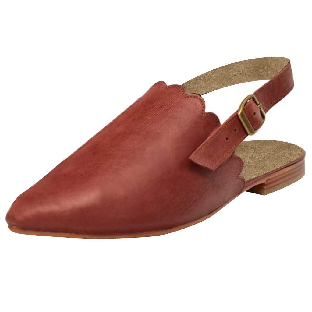 Orangeskycn Women Flat Sandals Platform Slippers Slingback Buckle Strap Mules Sandals Elegant Pointed Casual Beach Shoes Brown