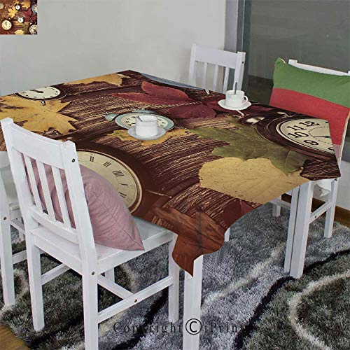 Homenon Indoor/Outdoor Design Spillproof Tablecloth Velour Hemp,Different Colored Dry Maple Leaves Various Alarm Clocks on Wooden Planks Print Decorative(52