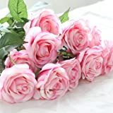 20pcs Head Real Touch Latex Rose Flowers For wedding Bouquet Decoration 8 Colors (KC307 Light Pink Rose)