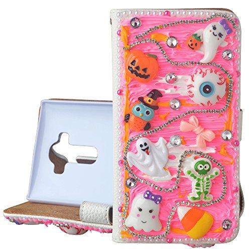 (For Samsung Galaxy S6 Edge Plus Hallowmas Theme Phone Case,Yaheeda 3D Handmade Stones Pumpkin Monster Design PU Leather Cellphone Cover)