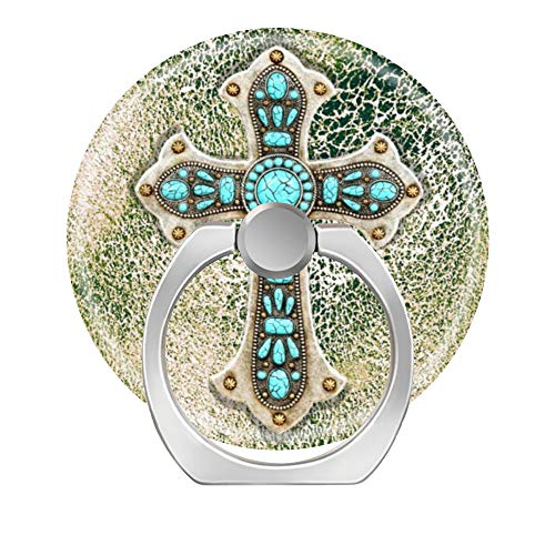 Toiur 360 Degree Rotation Cell Phone Ring Socket Grip Holder Finger Pop Stand with Car Mount Work for All Smartphone and Tablets - Western Cross on Cowhide Leather Look Turquoise