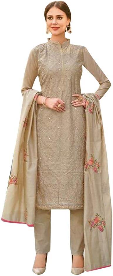 Indian Women Design Ethnic New Style Chanderi Slik Dress Top Tunic Kurta Kurti