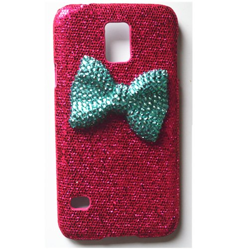 EVTECH(TM) Bow 3D Bling Glitter Rhinestone Handmade Design Hard Case Cover for Samsung Galaxy S5 I9600 Samsung Galaxy S5/ GS 5 AT&T G900A/ Sprint G900P/ Verizon G900V/ T-mobile G900T (100% Handcrafted)