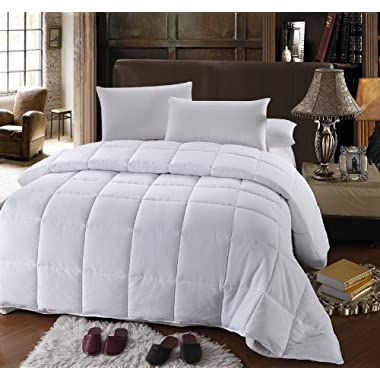 Royal Hotel Collection King/Cal king Size White Down Alternative Comforter Duvet Insert 300 Thread Count 60 Oz Down ALT Fillings
