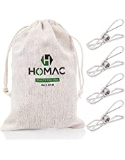 HOMAC 304 Stainless Steel Pegs with Peg Bag - 40 Pack Premium Quality Heavy Duty Clothes Pegs - Marine Grade Laundry Pegs for Outdoor Clothesline, Kitchen, Snack Bags, Pictures, Washcloth