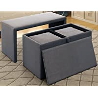 Furniture of America CM-BN6196GY-3A Ellie Nesting Bench and Ottoman Seating