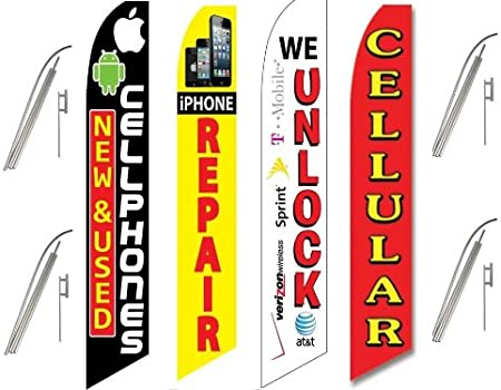 red Swooper Feather Flag Sign TWO Cellular