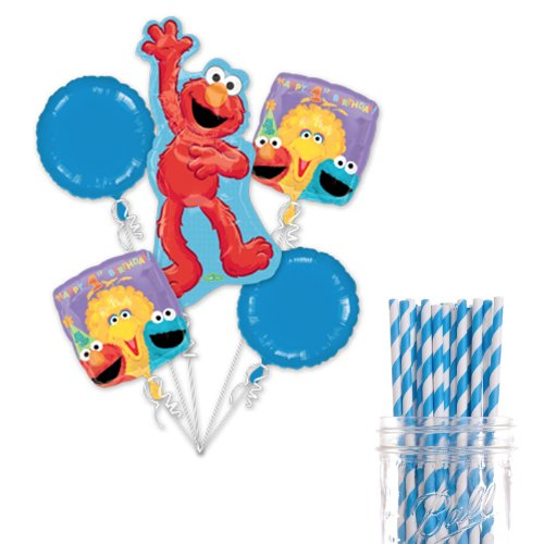Dress My Cupcake Party Decoration Kit with Straws and Balloons, Sesame Street Elmo 1st Birthday Party ()