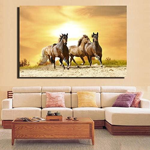 QWESFX Cuadros de la pared Caballo corriendo en la puesta de sol Pinturas de lienzo para la sala Decoración de la pared Imágenes de animales (Imprimir sin marco) B 40x60CM