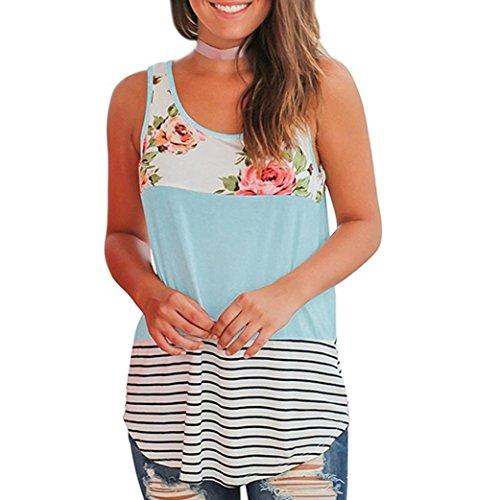 (Tank Tops, FORUU Women Casual Summer Floral Stripe Printed Patchwork Vest Crop Blue)