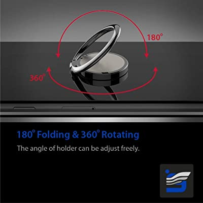 Phone Ring Holder Finger Kickstand 360 Degrees Rotation 180 Degrees Fold Metal Ring Grip for Magnetic Car Mount Compatible with All Types Smartphones Silver