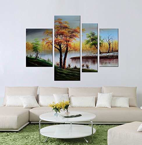 ARTLAND Modern 100% Hand Painted Landscape Oil Painting on Canvas ''Golden Tree'' 4-Piece Gallery-Wrapped Framed Wall Art Ready to Hang for Living Room for Wall Decor Home Decoration 30x40inches by ARTLAND