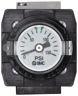 "SMC ARG20-N01G1H-Z Regulator with Gauge in Handle, Relieving type, 7.25 - 123 psi Set Pressure Range, 28 scfm, Gauge in Handle, With Set Nut, 1/8"" NPT"