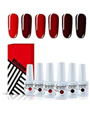 Vishine Red Colors Collection Gel Polish Set- Pack of 6 Colors Shine Finish and Long Lasting, Soak Off UV LED Gel 8ml/Pcs Gift Set