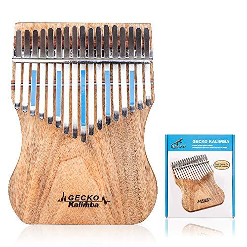 GECKO Kalimba 17 Keys Full solid Camphor wood,with Instruction and Tune Hammer, Portable Thumb Piano Mbira Sanza K17CAP