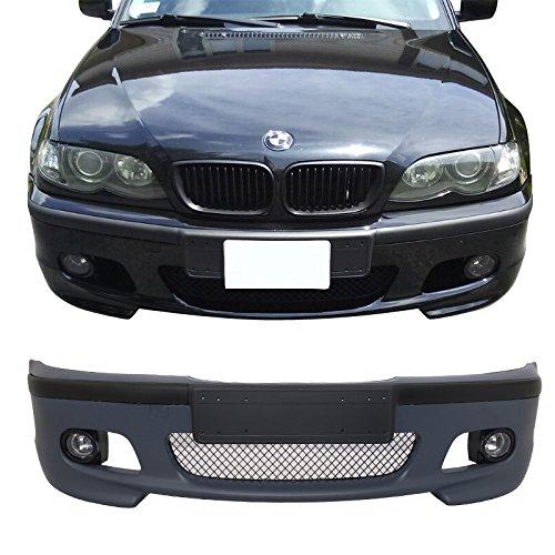 Front Bumper Cover Fits 1999-2005 BMW E46 3 Series | M Tech M Sport 4DR Sedan PP Unpainted Front Bumper Conversion With Fog Lights by IKON MOTORSPORTS | 2000 2001 2002 2003 2004 (Bmw E46 Front Bumper)