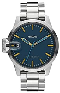 Nixon Men's Chronicle 44 A4412076 Silver Stainless-Steel Swiss Quartz Watch