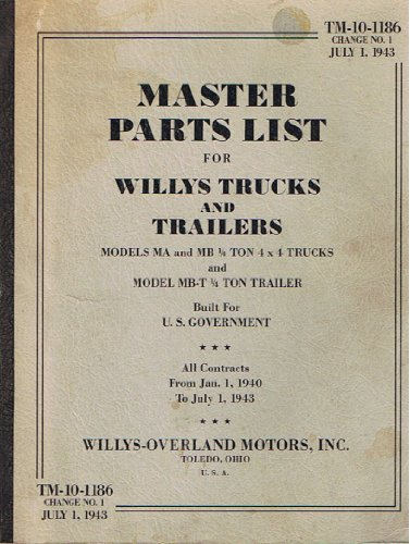 Master Parts List for Willys Trucks and Trailors - Models MA and MB 1/4 Ton 4x4 Trucks and Model MB-t 1/4 Ton Trailer Builty for U.S. Government (TM-10-1186 Change NO. 1 July 1, 1943)